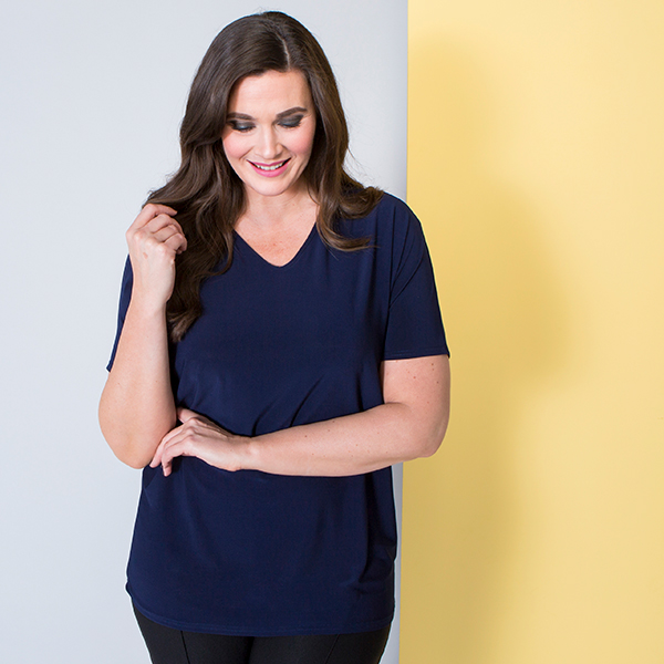 Nicole V-Neck Top Navy