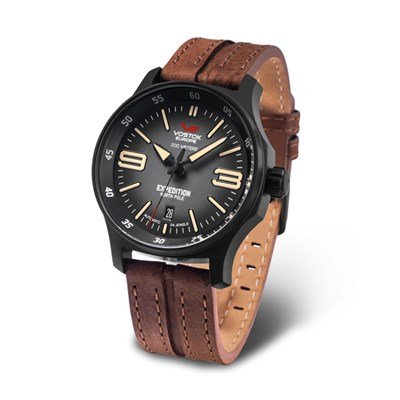 Vostok Europe Gent's Expedition N1 Automatic Watch with PVD Case and Genuine Leather Strap