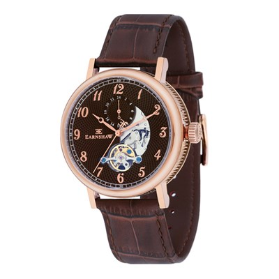 Thomas Earnshaw Gent's IP Plated Beaufort Automatic Watch with Genuine Leather Strap