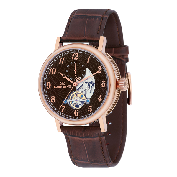 Thomas Earnshaw Gent's IP Plated Beaufort Automatic Watch with Genuine Leather Strap Brown