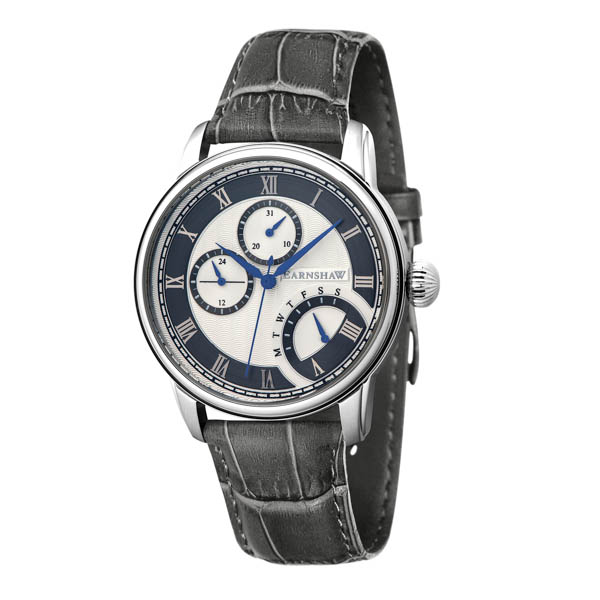 Thomas Earnshaw Gent's Longitude Multi Function Retrograde Watch with Genuine Leather Strap Grey