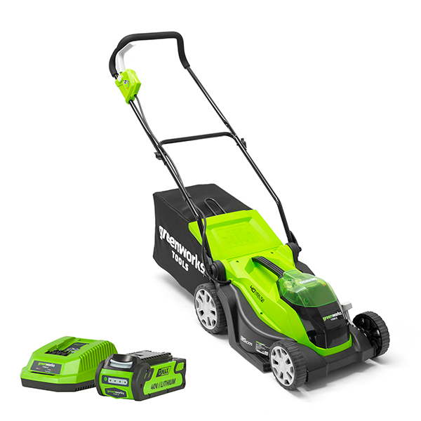 Greenworks Cordless 40V 35cm Lawnmower with 2ah Battery & Charger No Colour
