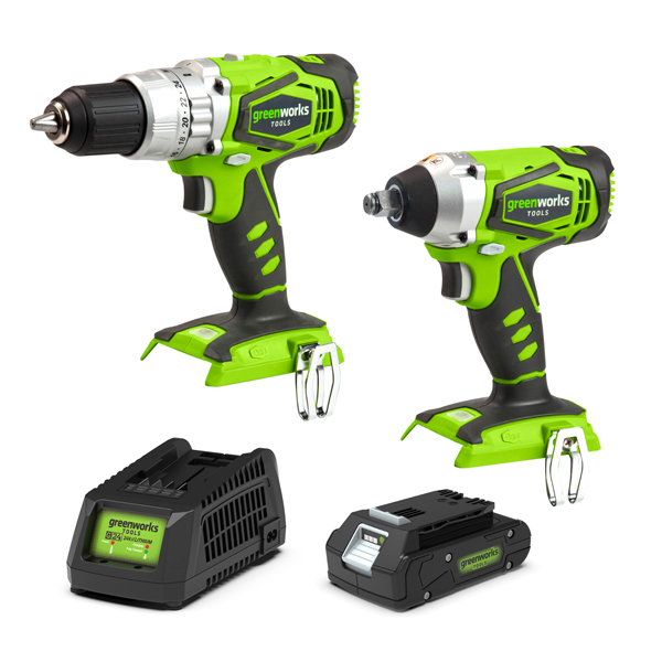 Greenworks 24V Cordless Combi Drill & Impact Wrench with 1 x 2Ah Battery & Fast Charger No Colour