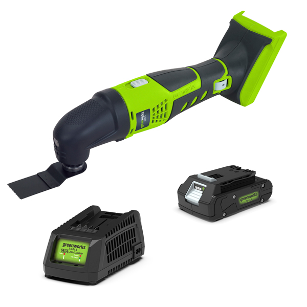 Greenworks 24V Cordless Multi Tool with 1 x 2Ah Battery & Charger No Colour