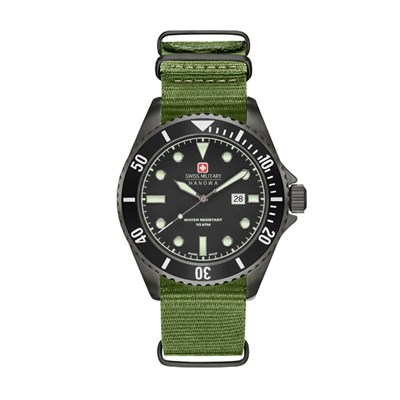 Swiss Military by Hanowa Mens IP Plated Sea Lion Watch with Nylon Strap
