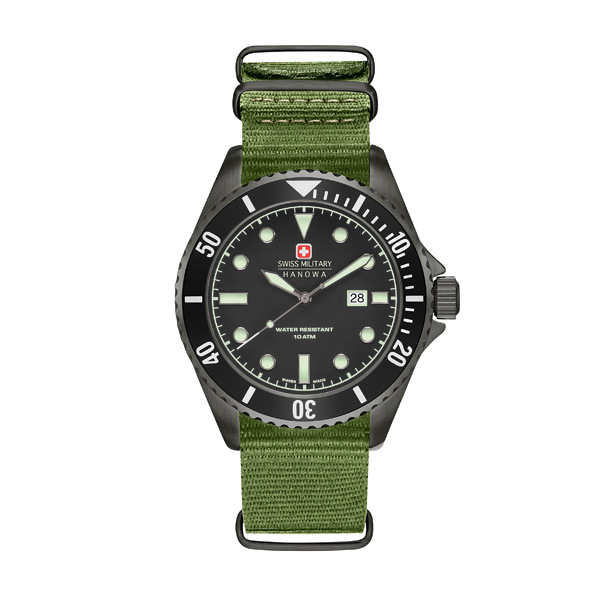 Swiss Military by Hanowa Gent's IP Plated Sea Lion Watch with Nylon Strap Green