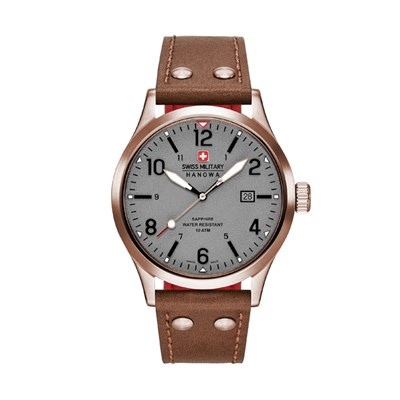 Swiss Military by Hanowa Gents IP Plated Undercover Watch with Genuine Leather Strap