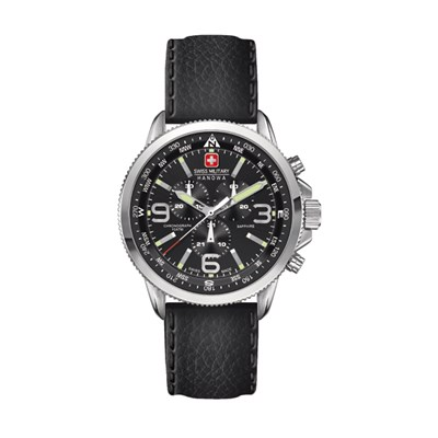 Swiss Military by Hanowa Mens Arrow Chronograph Watch with Genuine Leather Strap