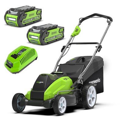 Greenworks 45cm 40v Cordless Lawnmower with 2 x 2.5ah Batteries & Charger