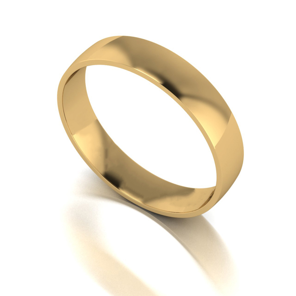 9ct Yellow Gold Court Shaped Wedding Ring 4mm Yellow Gold