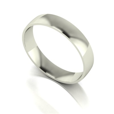 9ct White Gold Court Shaped Wedding Ring 4mm