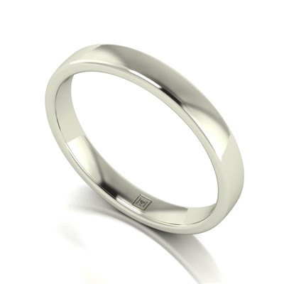 Lady Lynsey 9ct White Gold Heavy Weight Court Shaped Wedding Ring 3mm