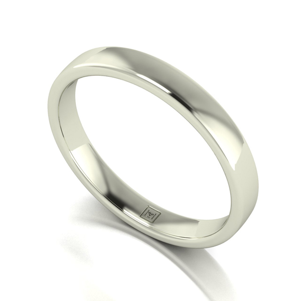 Lady Lynsey 9ct White Gold Heavy Weight Court Shaped Wedding Ring 3mm White Gold