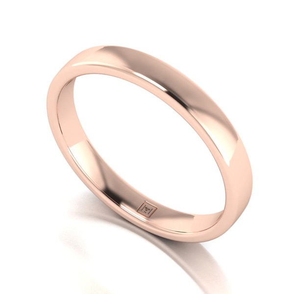 Lady Lynsey 9ct Rose Gold Heavy Weight Court Shaped Wedding Ring 3mm Rose Gold