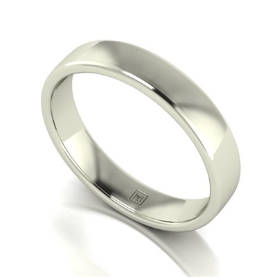 Lady Lynsey 9ct White Gold Heavy Weight Court Shaped Wedding Ring 4mm