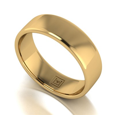 Lady Lynsey 9ct Yellow Gold Heavy Weight Court Shaped Wedding Ring 6mm