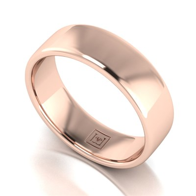 Lady Lynsey 9ct Rose Gold Heavy Weight Court Shaped Wedding Ring 6mm