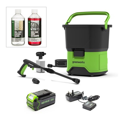Greenworks GDC40 40V 70bar Cordless Pressure Washer Inc. 4Ah Li-Ion Battery and Charger PLUS 2 x 500ml Detergents
