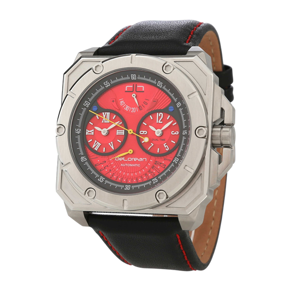deLorean Gent's Limited Edition Gearbox Automatic Watch with Genuine Leather Strap Red