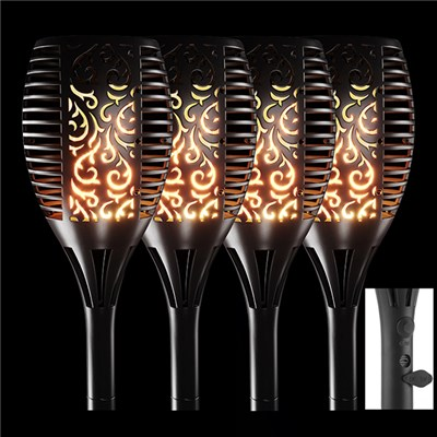 True Flame Solar Torch Light with USB Charging Port (4 Pack)