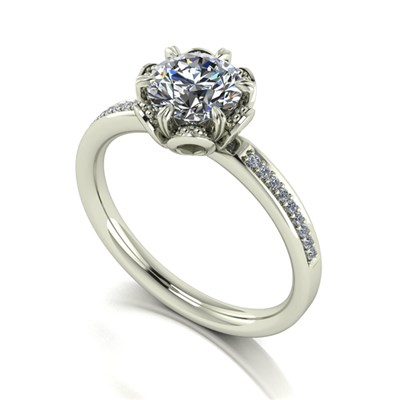 Moissanite 9ct Gold 1.2ct Eq Solitaire Flower Ring with Set Shoulders