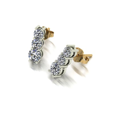 Moissanite 9ct Gold 1ct Eq Trilogy Earrings (p)