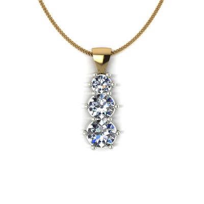 Moissanite 9ct Gold 1ct Eq Trilogy Pendant on 18inch Chain