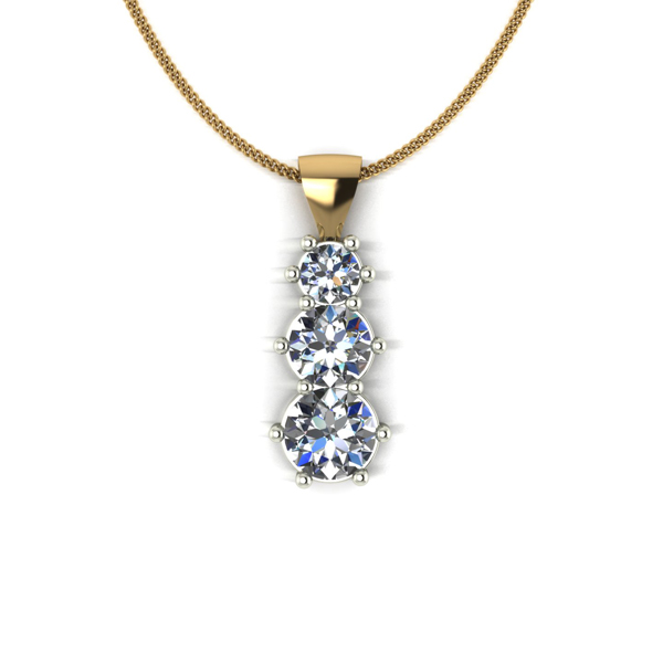Moissanite 9ct Gold 1ct Eq Trilogy Pendant on 18inch Chain Yellow Gold