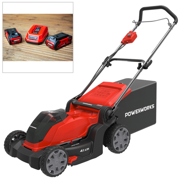 £140 off Powerworks 40V cordless lawnmower 41cm incl 2 x 2Ah batteries & charger