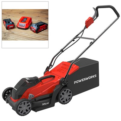 Powerworks 40V Cordless Lawnmower 35cm with 2 x 2Ah Batteries & Charger
