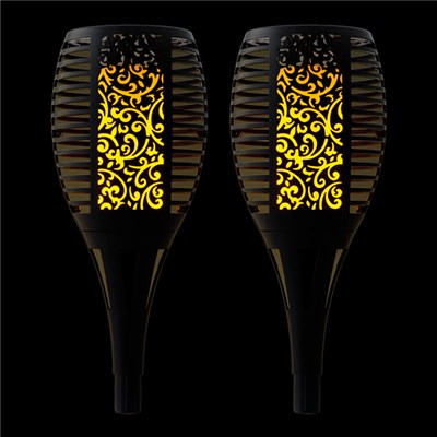 Solar Style Flickering Flame Solar Stake Lights (Twin Pack)