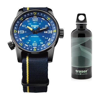Traser Gents Swiss Made P68 Pathfinder, Automatic, PVD Case and Integrated Compass Ring Watch with Nato Strap & Bottle