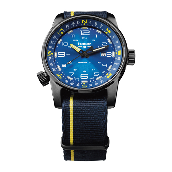 Traser Gent's Swiss Made P68 Pathfinder, Automatic, PVD Case and integrated Compass Ring Watch with Nato Strap Blue