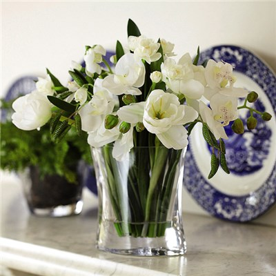 White Bulb Arrangement with BONUS Silk Flower Cleaning Spray 1603633