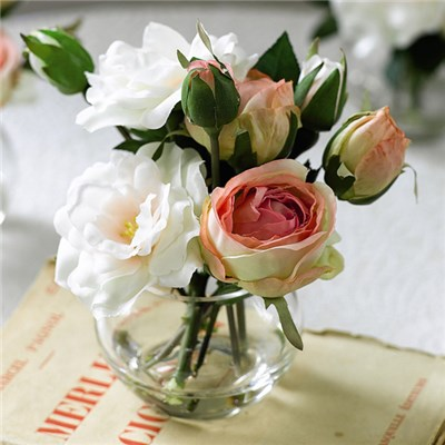 Pink Rose Posy Arrangement with BONUS Silk Flower Cleaning Spray 1603633