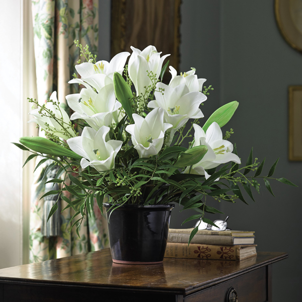Madonna Lily Centrepiece with BONUS Silk Flower Cleaning Spray 1603633 No Colour