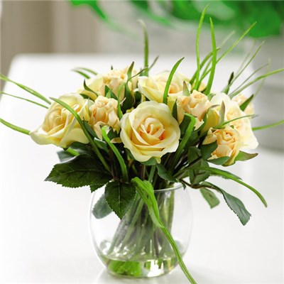 Yellow Rose and Grass Arrangement with BONUS Silk Flower Cleaning Spray 1603633