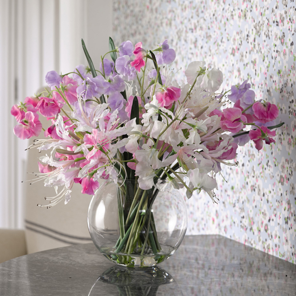Nerine Lily and Sweetpea Arrangement with BONUS Silk Flower Cleaning Spray 1603633 No Colour