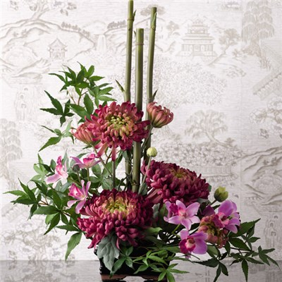 Ikebana Geisha Arrangement with BONUS Silk Flower Cleaning Spray 1603633