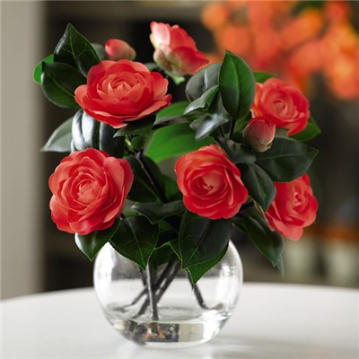 Vermillion Camellia Arrangement with BONUS Silk Flower Cleaning Spray 1603633