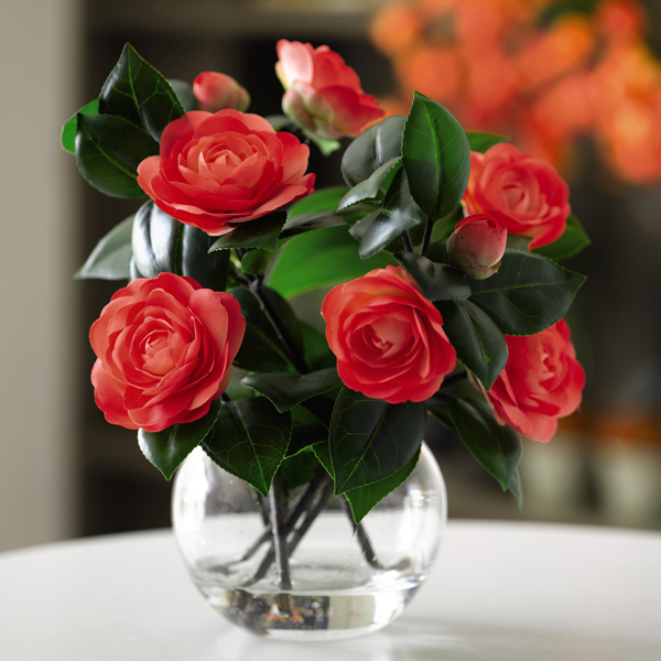 Vermillion Camellia Arrangement with BONUS Silk Flower Cleaning Spray 1603633 No Colour