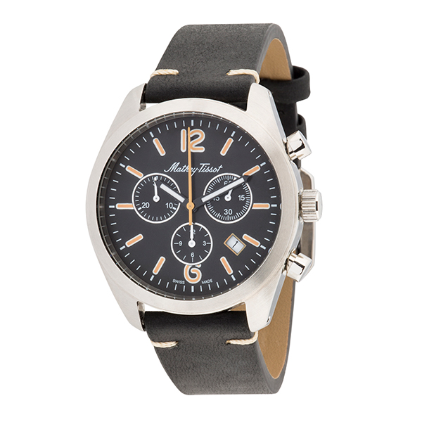 Mathey-Tissot Gent's Limited Edition Astrolabe Chronograph Watch with Genuine Leather Strap Black