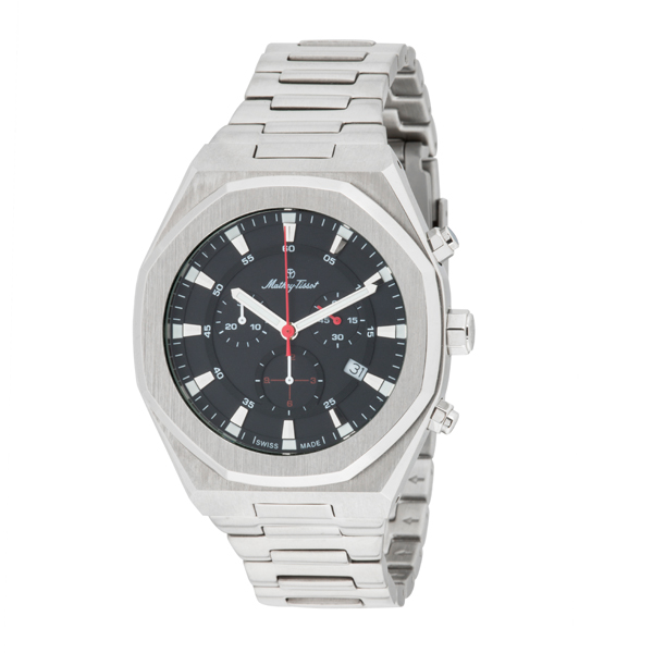 Mathey-Tissot Gent's St Moritz Chronograph Watch With Stainless Steel Bracelet Black/Silver
