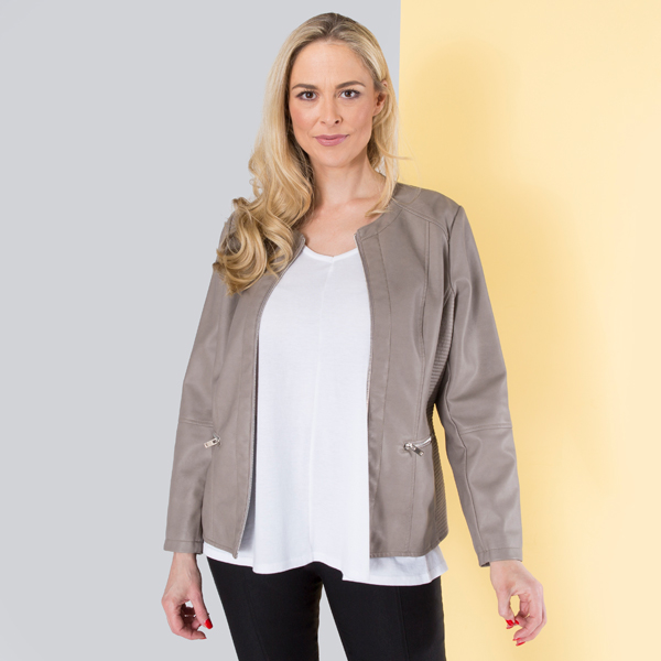 Stolen Heart Collarless Faux Leather Jacket Latte