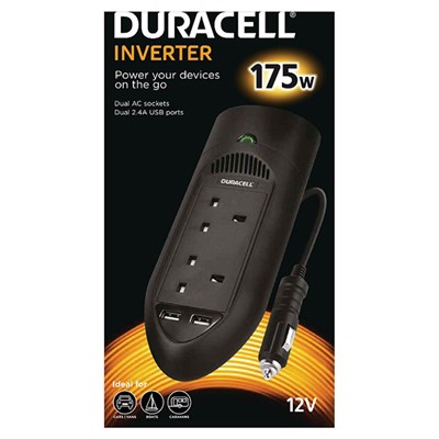 Duracell 175W Twin UK Socket Inverter