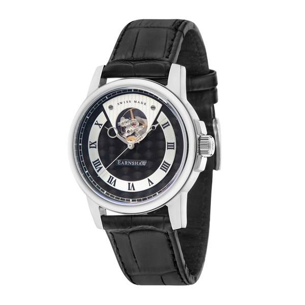 Thomas Earnshaw Gent's Beagle Swiss Automatic with Genuine Leather Strap Black
