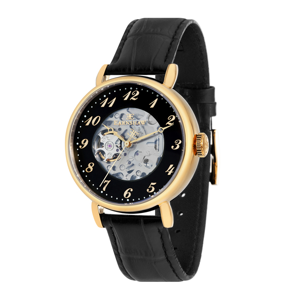 Thomas Earnshaw Gent's Precisto Grand Legacy Automatic with Genuine Leather Strap Black/Gold