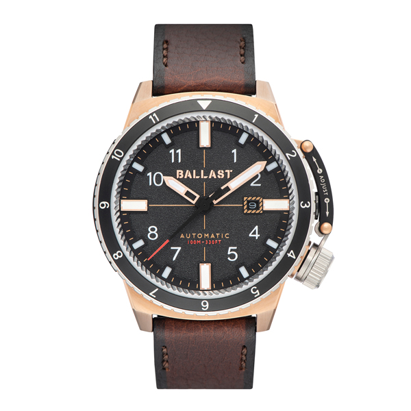 Ballast Gent's Trafalgar Automatic Watch with Genuine Leather Strap Black