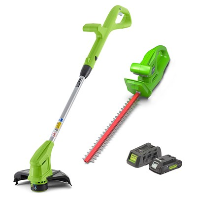 Greenworks 24V Cordless Line & Hedge Trimmer Twinpack with 1 x 2Ah Battery & Charger