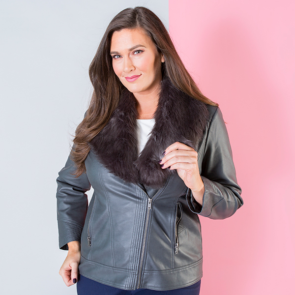 Stolen Heart Zip Through Jacket with Faux Fur Trim Slate
